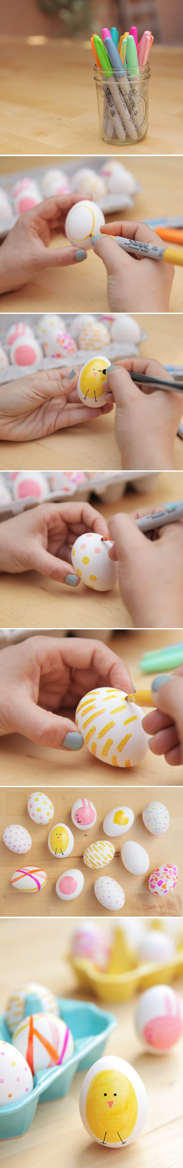 Egg decorating with Sharpies. Such a great idea! So much better than dying them
