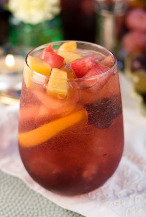 Winter Holiday Cocktails: Red Sparkling Sangria -- apples, pears, grapes, Prosecco, Pomegranate Cherry Juice