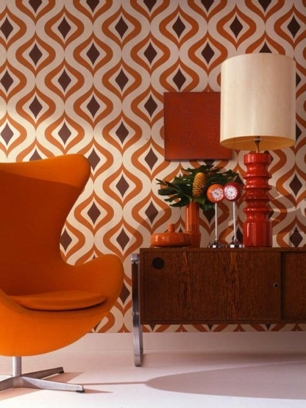 Retro Tapeten Orange Braune Muster
