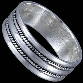 Silver ring, band Silver ring, Ag 925/1000 - sterling silver. A medium-wide ring with a simple blackened design.