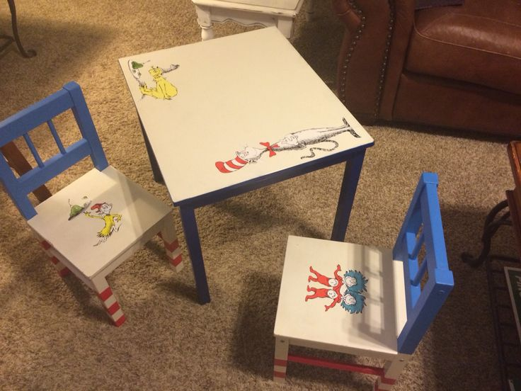 "White IKEA table and chairs painted and ""Seussed up"" for my Kinder classroom."