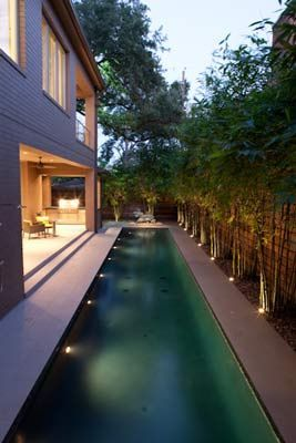 Making a good use of a small courtyard with lush landscaping, lap pool and beautiful landscape lighting.