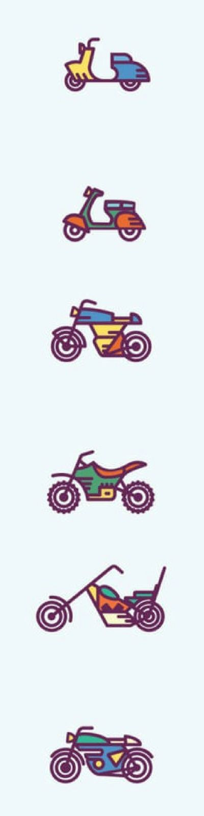 If you're looking for more than just the typical motorcycle icon, and want some fun options, then be sure to check out Dribble's Free Moto Icon Set. This one features a variety of moto-bikes that are fun and include movement. Free download via 4vector.com @4vector