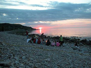 Solnedgång över Bjäres stenkust Kattvik