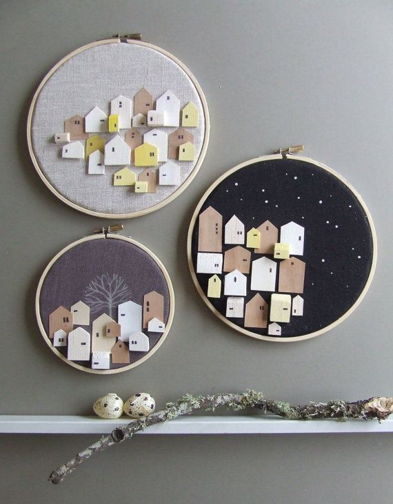 REUNION Set of 3 tiny wooden houses on by thepapercutboutique, $72.95