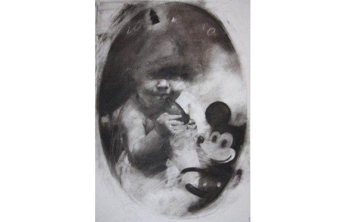 LOT 15 DAN LICA Me and Mickey [2012] Charcoal on paper 70 × 50 cm (27.6 × 19.7 inch) Estimate €400 - €600  #lavacow #contemporary #art #danlica