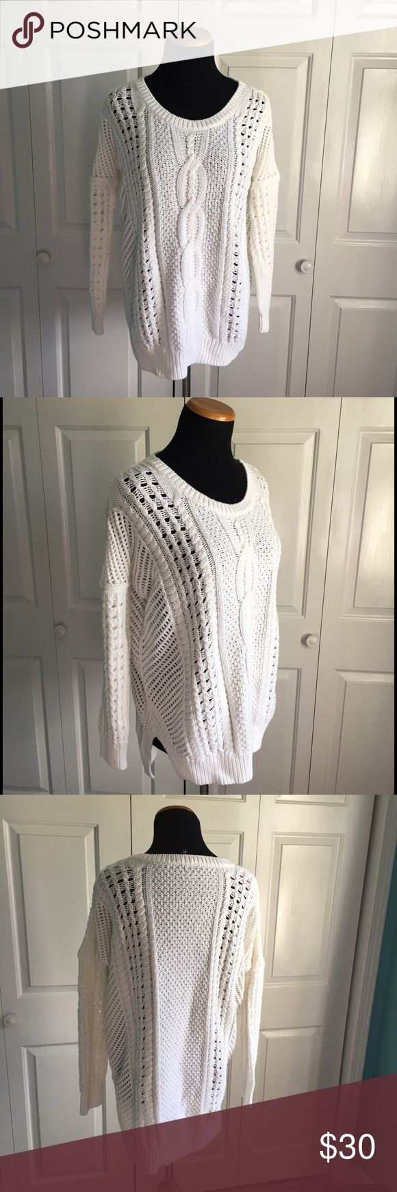Express Oversized Cable Knit Sweater Oversized/boyfriend fit white Cable Knit Sweater. Could also fit a medium, IMO. Very soft and cozy and in perfect condition. Express Sweaters Crew & Scoop Necks