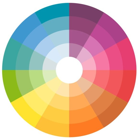 Color wheel: for complimentary color combinations, wear colors that are next to each other. For color-blocking pair colors that are directly opposite of each other.