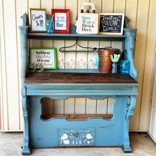 pump organ made into a home mini bar by red dirt revivals liquor cabinetmini
