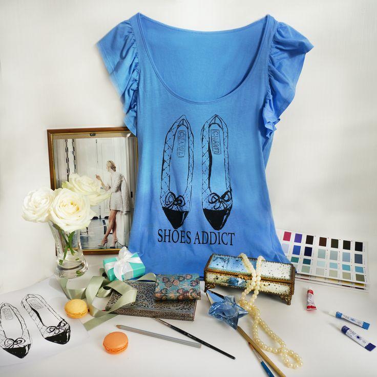 """Дизайнерские женские футболки """"Shoes Addict. Chanel"""". размеры S и M. Тончайший летний хлопок. !!!! ЦЕНА 490 руб !!!!!"""