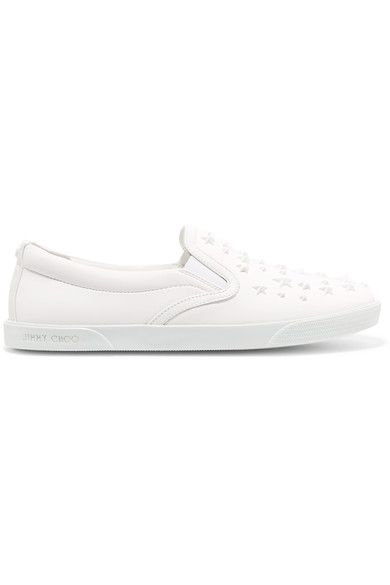 Jimmy Choo - Demi Star-embellished Leather Slip-on Sneakers - White