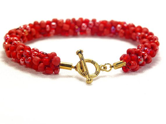 Red beaded Kumihimo bracelet with gold tone toggle clasp by FfigysDesigns #Cavetsy #Etsy #handmade #bracelet