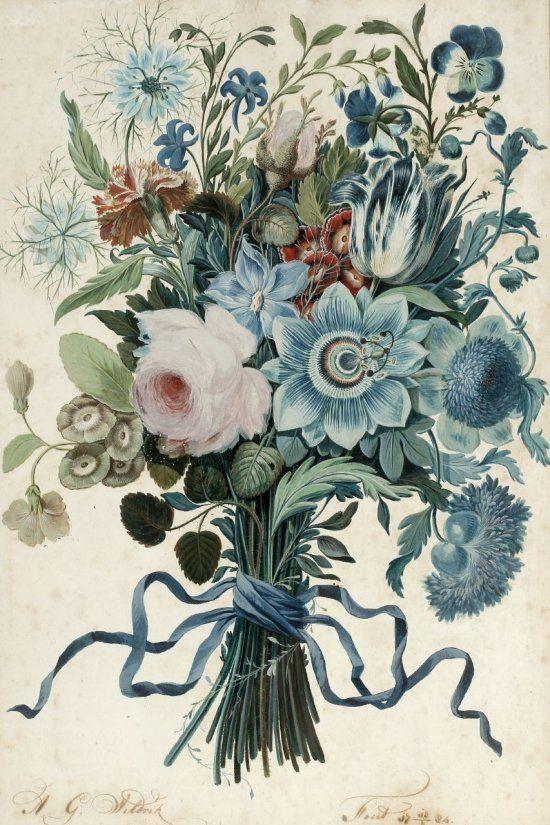 Flowers || tattoo blue hues via anna sheffield blog