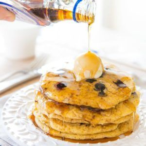 Blueberry Cornmeal Pancakes Recipe - Perfect for a hearty breakfast or brunch with cornmeal and whole wheat flour