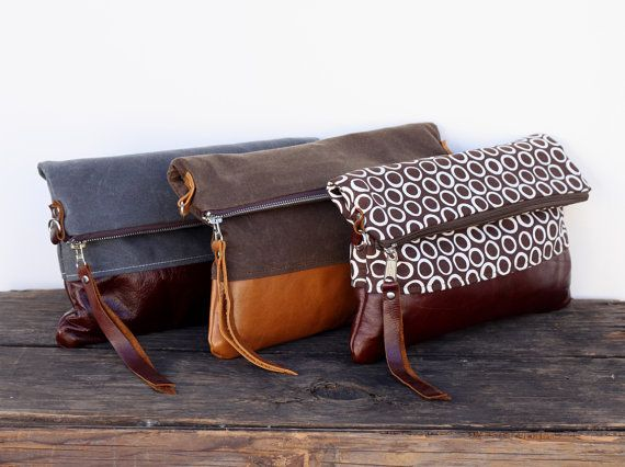 Waxed Canvas Leather Convertible Messenger Bag Foldover Clutch - Choose your Waxed Canvas, Fabric and Leather
