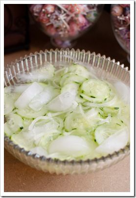 Cucumber and Onion Salad- I cut the sugar in half and add more vinegar.