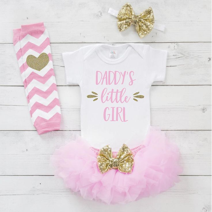 Daddy's Little Girl Father's Day Girl Outfit, Father's Day Pink and Gold Outfit Set, Baby's 1st Father's Day Outfit, Fathers Day Gift 019S