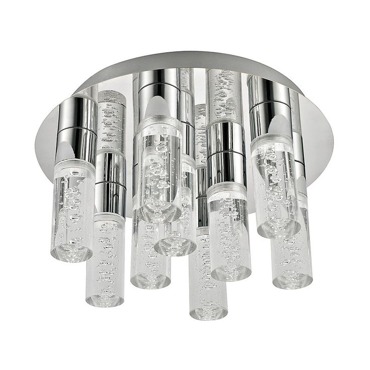 EEK A+, Deckenleuchte KENT - Metall/Kunststoff - 9-flammig, Lux