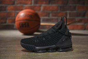 58ad87e0d140b Mens Nike LeBron 16 HFR Harlem s Triple Black Basketball Shoes ...