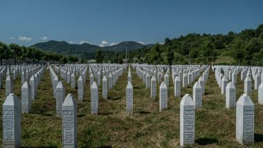 The cemetery in Potocari, Bosnia, where many of the more than 8000 victims of the Srebrenica massacre of Muslim men and ...