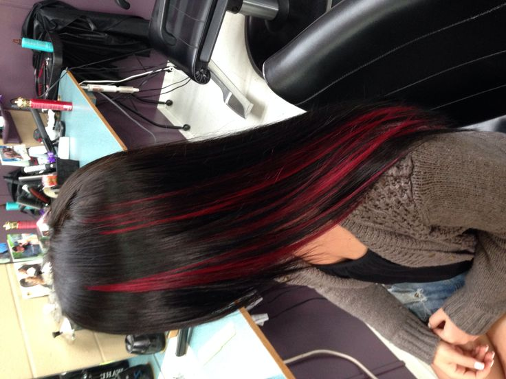 Dark brown with red peekaboos #hair