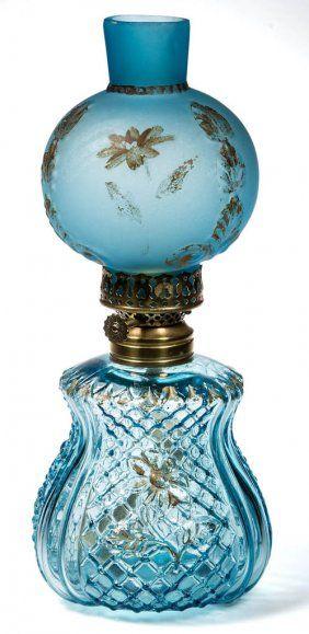 Embossed Lattice And Floral Miniature Oil Lamp