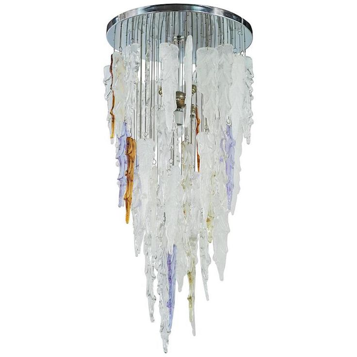 Rare Murano Icicle Chandelier by Mazzega