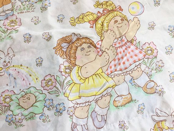 Vintage Cabbage Patch Kids Sheet Set Twin Flat And Fitted