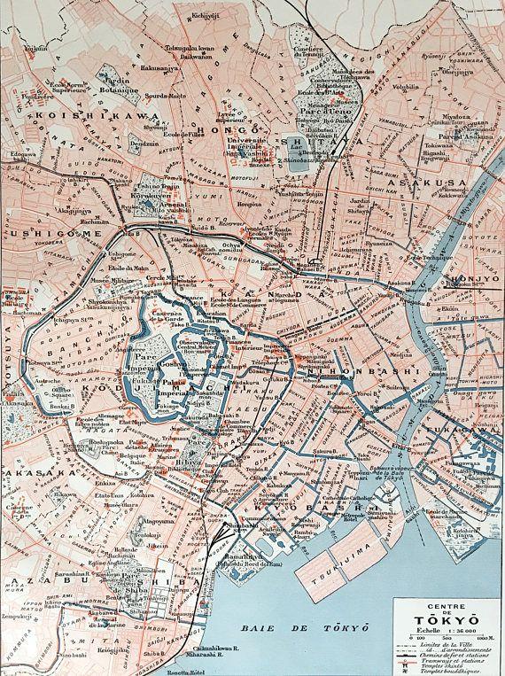 1915.TOKYO JAPÓN.Mapa de centro de Tokyo Lámina a color.30