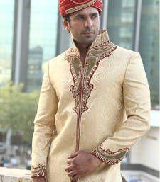 Buy golden zari brocade embroidered sherwani sherwani online
