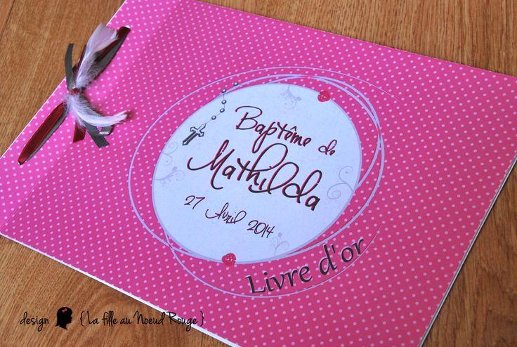 Livre d'or personnalisé pour baptême fille #rose #gris #coccinelle www.lafilleaunoeudrouge.fr