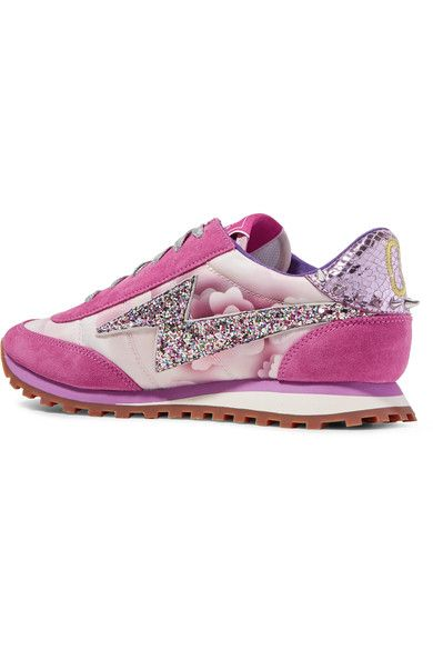 Marc Jacobs - Astor Embellished Printed Canvas, Leather And Suede Sneakers - Fuchsia - IT41