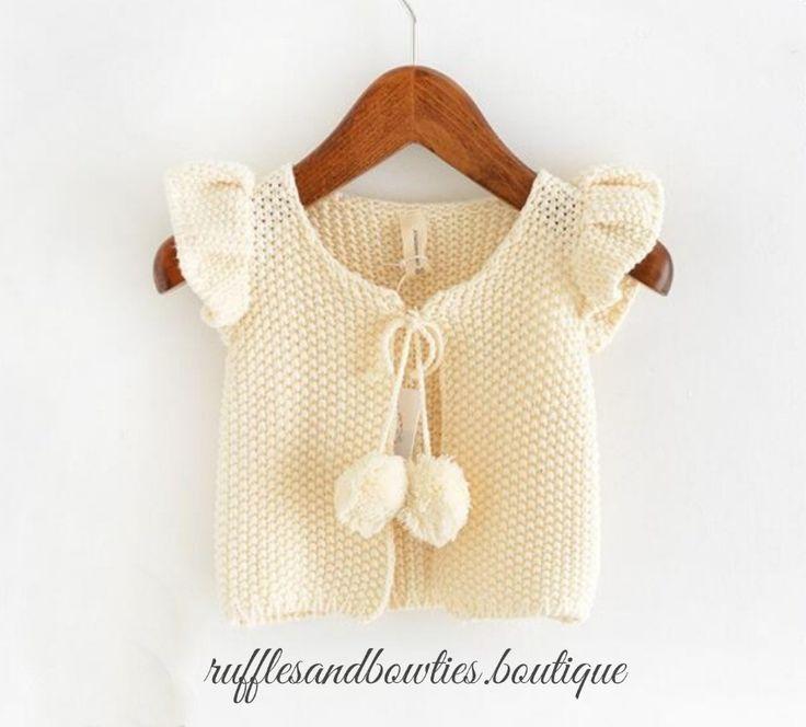 Girls/Baby Girls Fall Cream Pom pom butterfly sleeve knitted sweater vests - kids fashion - Cotton Sweater Coatton waist coats