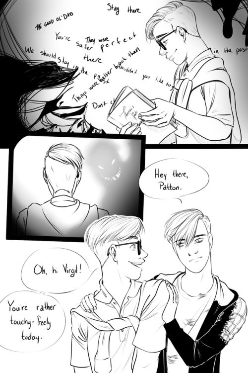Thomas sanders | Tumblr ■■■ OMG I love this concept! Virgil can sense when the others are in a bad place (or mabey he can see the forces of darkness???). Either way really cool!