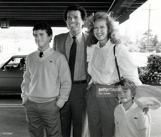 Patrick Wayne, Wife Marcia Wolfe, And Sons during John Wayne Cancer Clinic Beautiful People Awards at Smokehouse Restaurant in Burbank, California, United States.  (March 28, 1982)