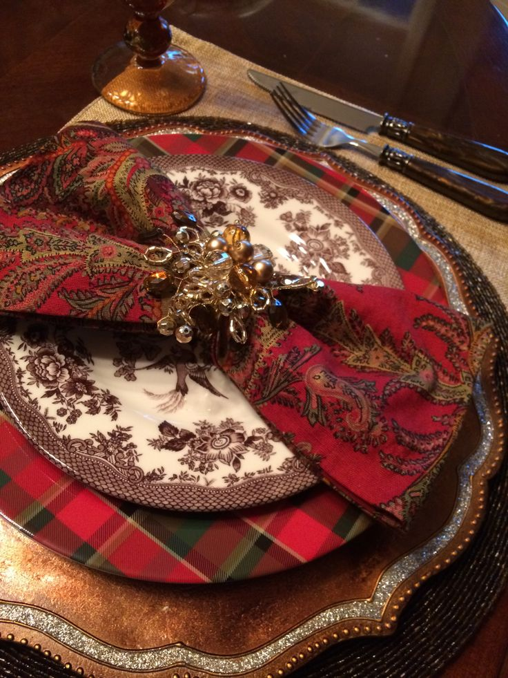 Christmas Dinner Tablescape Placesetting Tartan plaid, Paisley, Chocolate Brown, Gold, Silver, Birds
