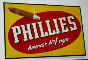 "PHILLIES CIGAR TIN SIGN    Embossed tin sign with lit cigar; 13"" x 20"", THIS WAS USED AS A MOVIE PROP"