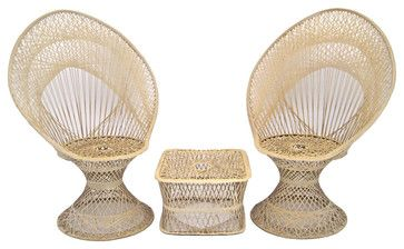 Mid-Century Spun Fiberglass Fan Peacock Chairs Ottoman - Midcentury - Patio Furniture And Outdoor Furniture - Other Metro - MIX Vintage