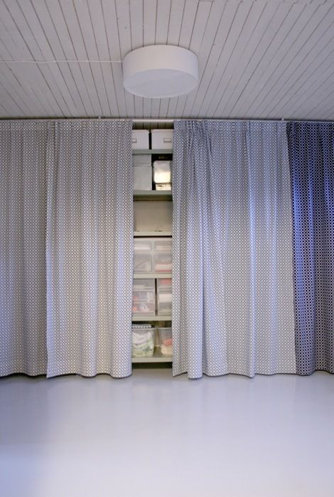 Just Hide It With A Curtain! | Garage Storage Solutions In 2019 | Basement,  Basement Storage, Basement Laundry