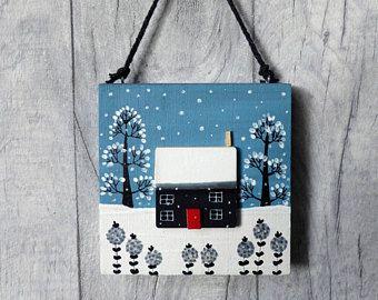 Little House,Handpainted House,Door hanger,Christmas decor,Folk art,New Home gift,Christmas gift for her, stocking filler for her,Girls gift