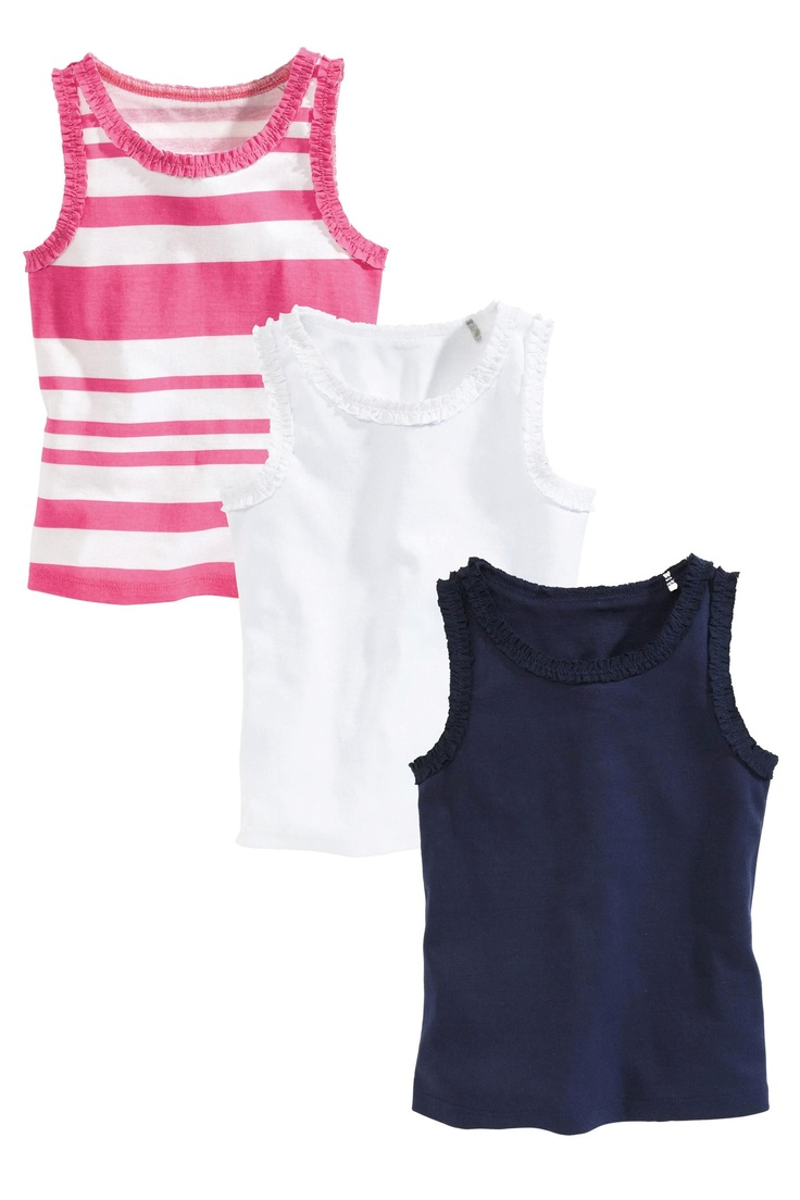 Buy Navy, White And Pink Stripe Frill Vests Three Pack (3mths-6yrs) from the Next UK online shop