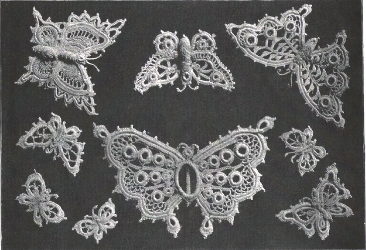 Butterfly Irish Crochet Butterflies from antique pattern library free pdf.    Great Irish Lace and Romanian Lace Patterns
