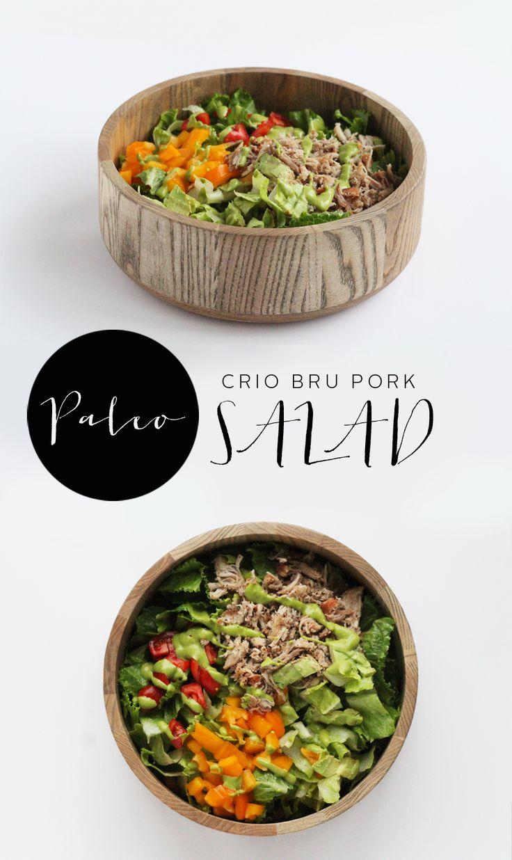 Paleo pulled pork salad with sweet cilantro dressing.