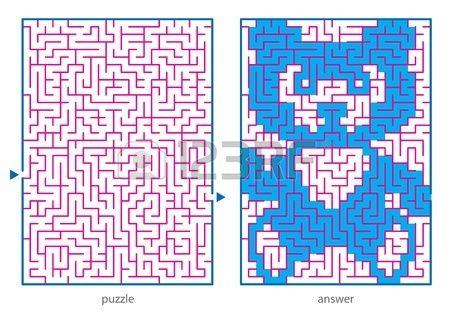 Kinderen s picture logische puzzels trek een lijn in dit doolhof van begin tot eind en ontdekt de ve Stockfoto