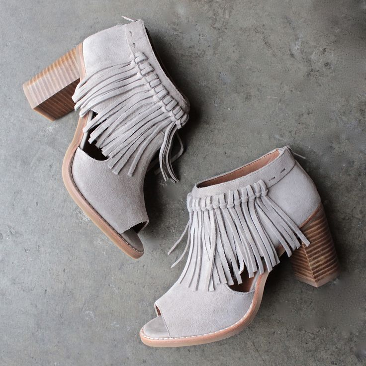 sbicca hickory beige suede leather fringe ankle booties - shophearts - 1