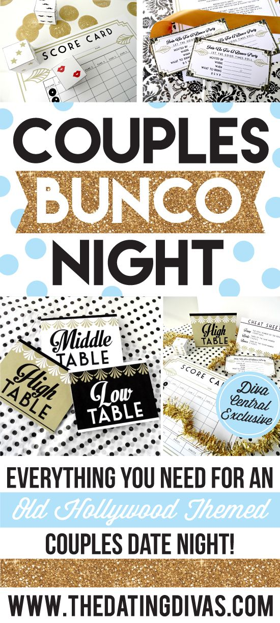 Couples Bunco Date Night - love these Hollywood-themed printables and fun dice!