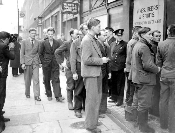 March 8th 1941: Nearly three hundred volunteers from the Lofoten Islands, who were brought back to England by the British Navy after the daring and successful raid on the Nazi controlled islands, are in London to join the Norwegian Forces here in the fight for the freedom of their country.' (Photo by Planet News Archive/SSPL/Getty Images) #london #war #East_End