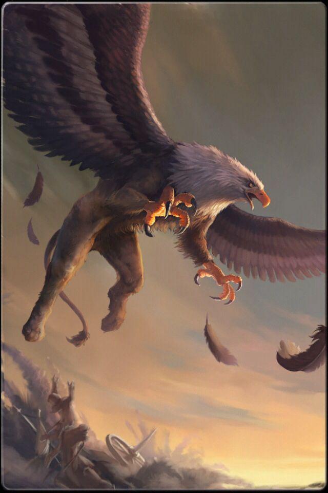 Grifo... son seres voladores muy feroces, mitad león y mitad águila.