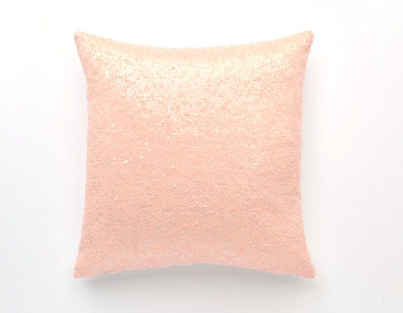 20 x 20 Sequin Pillow Cover Baby Pink Taffeta by TwentyEight12