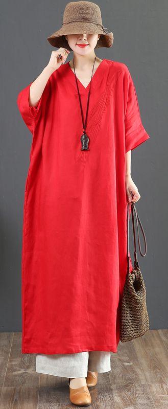 7a5ece11e4 Bohemian red linen clothes Omychic Shirts v neck batwing sleeve long Summer  Dress linendress